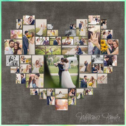 Foto Collage Vorlage Psd Herz Hochzeits Geschenk Jahrestagsgeschenk Valentinstaggeschenk Geschen In 2020 Heart Photo Collage Photo Heart Photo Collage Template
