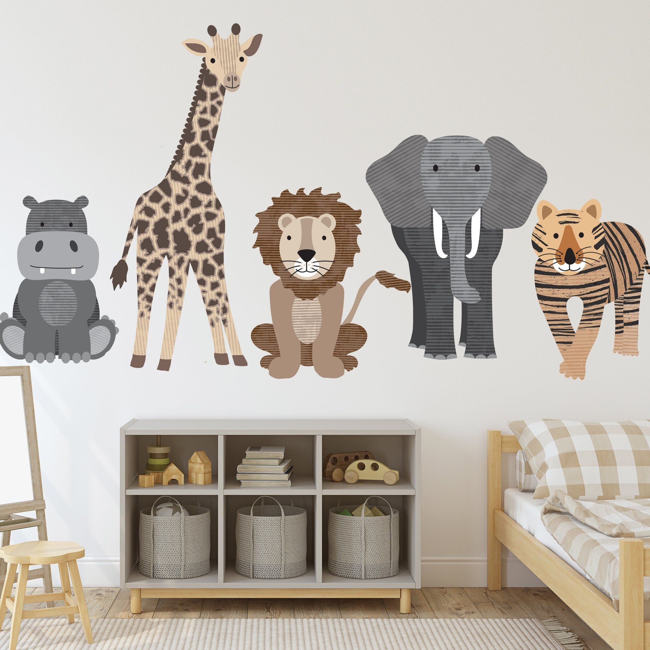 large safari animal wall decals nursery wall decals on wall decals id=61435
