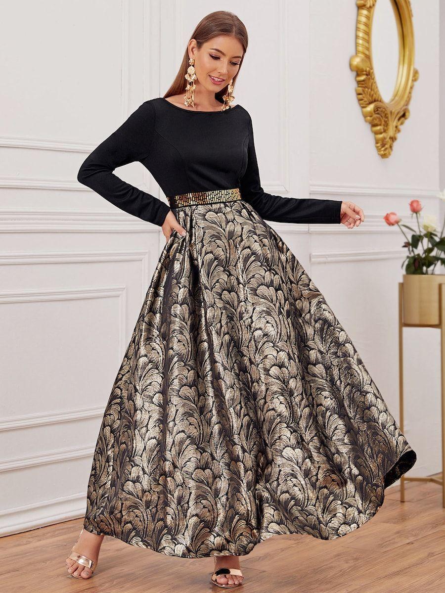 Maxi Kleid mit überallem Blumen Msuter  SHEIN  Arabische
