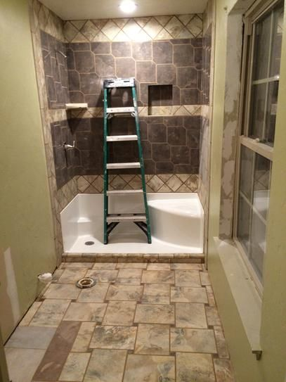 Second Bathroom Before I Install Shower Doors And Grab Rails
