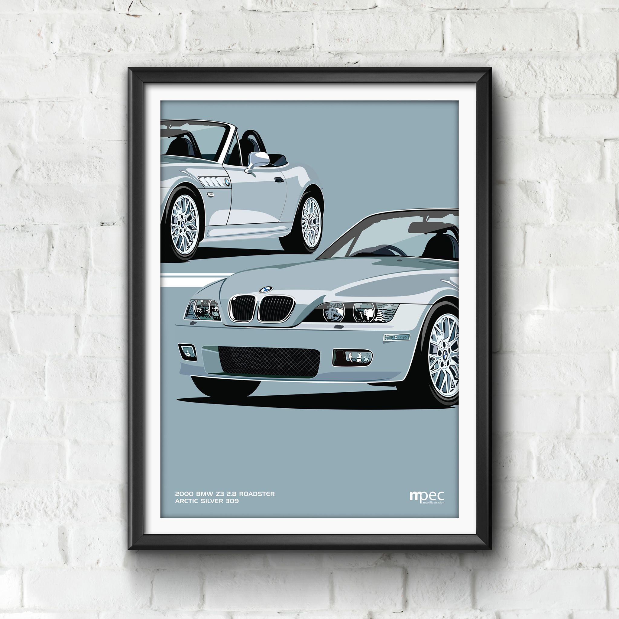 Print Of 2000 Bmw Z3 2 8 Roadster In Arctic Silver 309 Double Sale Poster Bmw Z3 Bmw