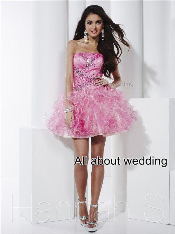 Vestido de Baile sem alças Prom Dresses New Crystal Beaded Ruffle ...