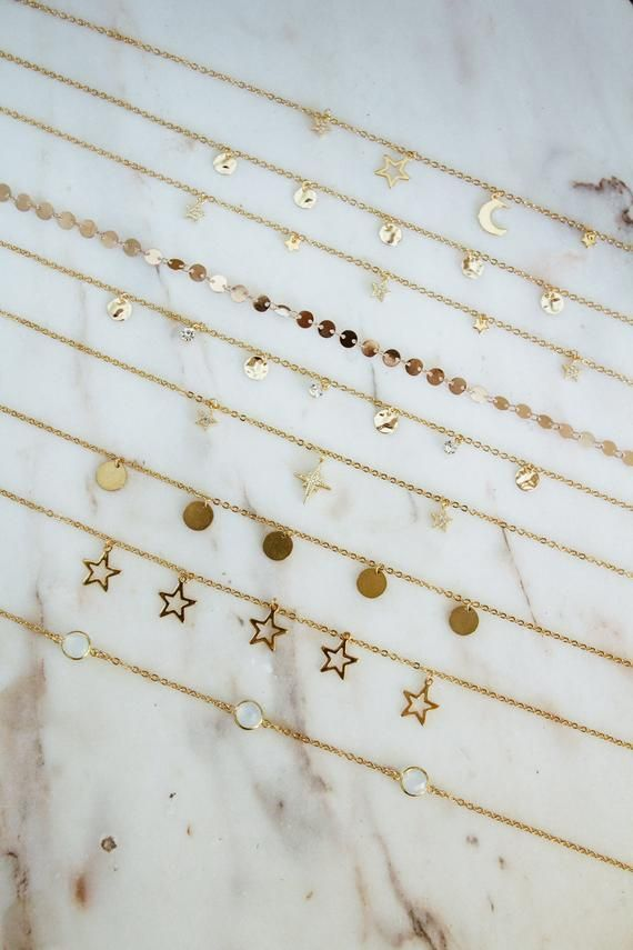 Golden chokers dainty necklaces moon phases gold coins opal link stardust stars choker north star necklace  ᴊᴇᴡᴇʟʀʏ