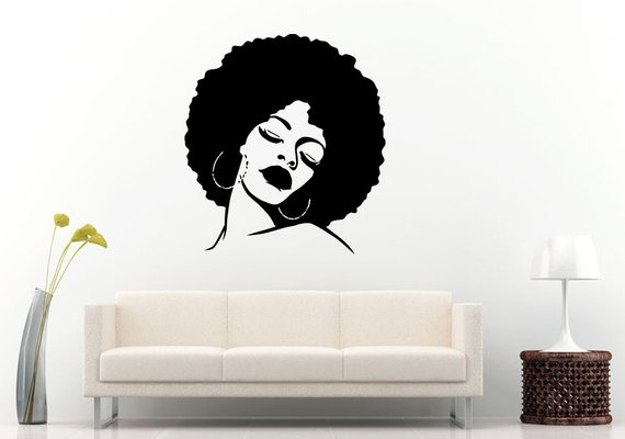 african american woman girl lady with an afro hair salon style and