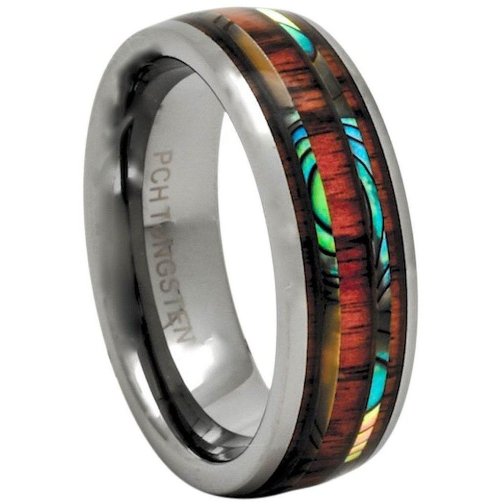 Hawaiian koa wood tungsten ring with abalone inlay mm inlay row