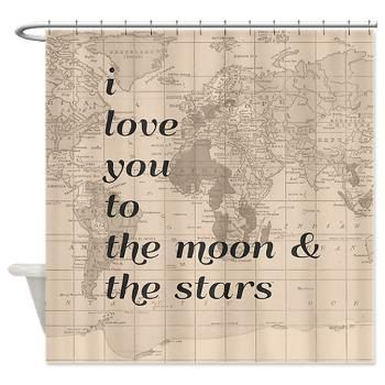 I love you to the Moon and Stars Quote Shower curtain with vintage ...