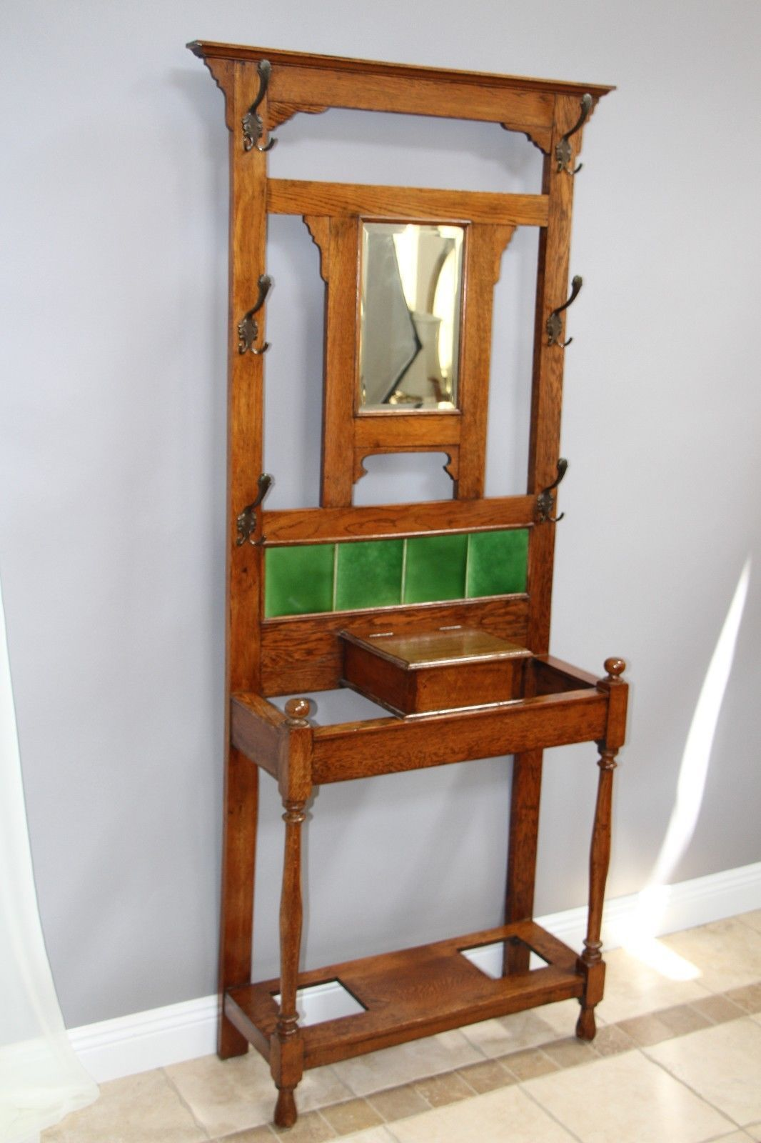 Vintage Oak Hall Tree with Beveled Mirror Coat Hooks Storage Green Tiles | eBay