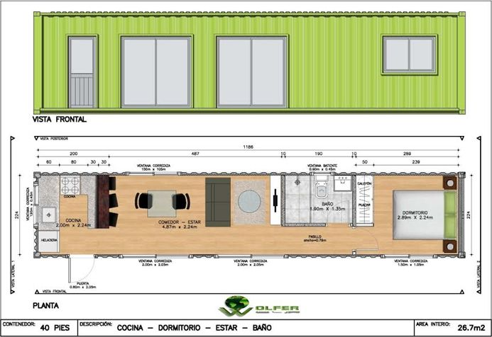 Resultado de imagen para medidas de un contenedor casas for Medidas de una oficina arquitectura