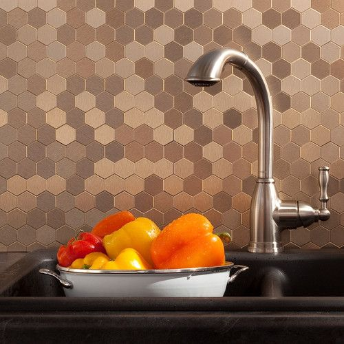 "Found it at Wayfair - 12"" x 4"" Matted Metal Honeycomb Tile in Champagne Kit"