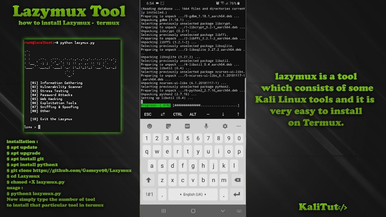 how to install Lazymux Tool in Termux Stress tests