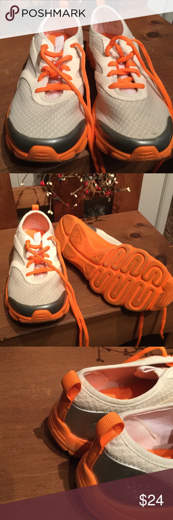 Esreinvent by Easy Spirit White/orange walk shoes Worn nice..excellent cond⭐️⭐️ Easy Spirit Shoes Athletic Shoes