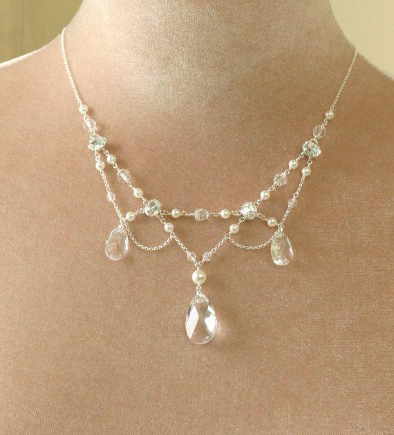 Chandelier necklace bridal, edwardian style necklace, vintage style ...
