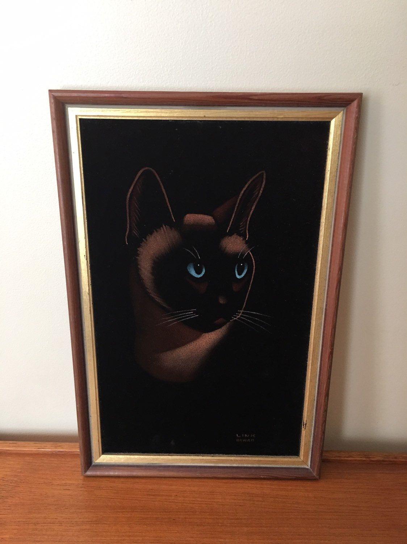Vintage Black Velvet Siamese Cat Painting, Kitschy Cat
