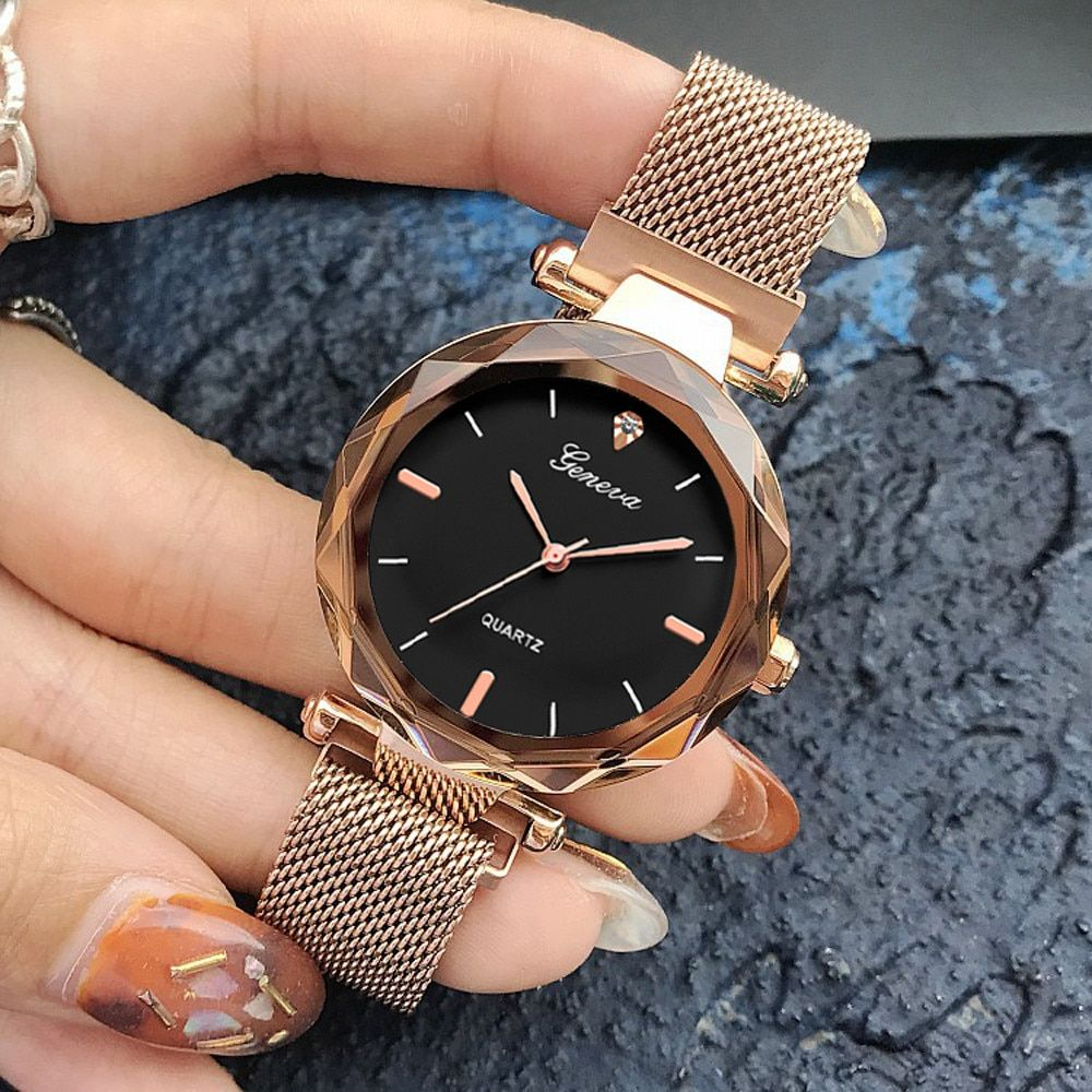 Luxury Rose Gold Women Watches Crystal Female Stainless