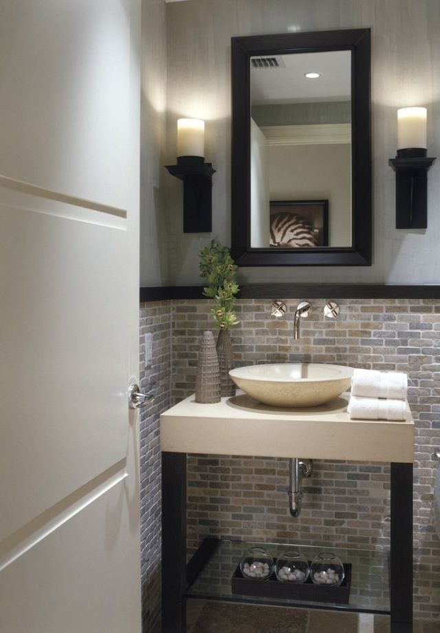 Half Bathroom Designs Brick Tiles