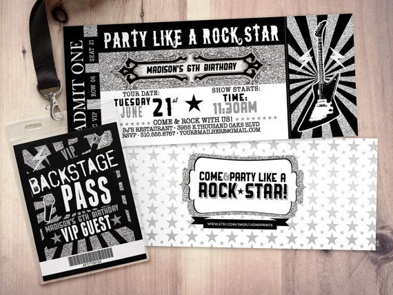 ROCK STAR concert ticket birthday party invitation by LyonsPrints - concert ticket birthday invitations