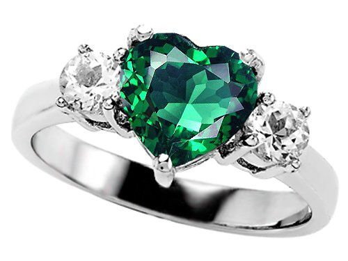 2.60 cttw Original Star K(tm) 925 Created Heart Shape Emerald Engagement  Ring
