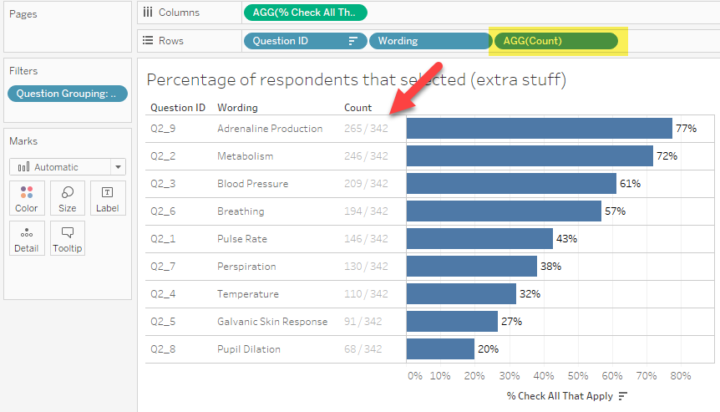 How To Visualize Check All That Apply Questions Using Tableau This Or That Questions How To Apply Data Visualization
