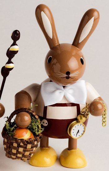 Bunny With Egg Basket 11 Cm 4 Inches 53 00 Plus Shipping Egg Basket German Decoration Easter Decorations