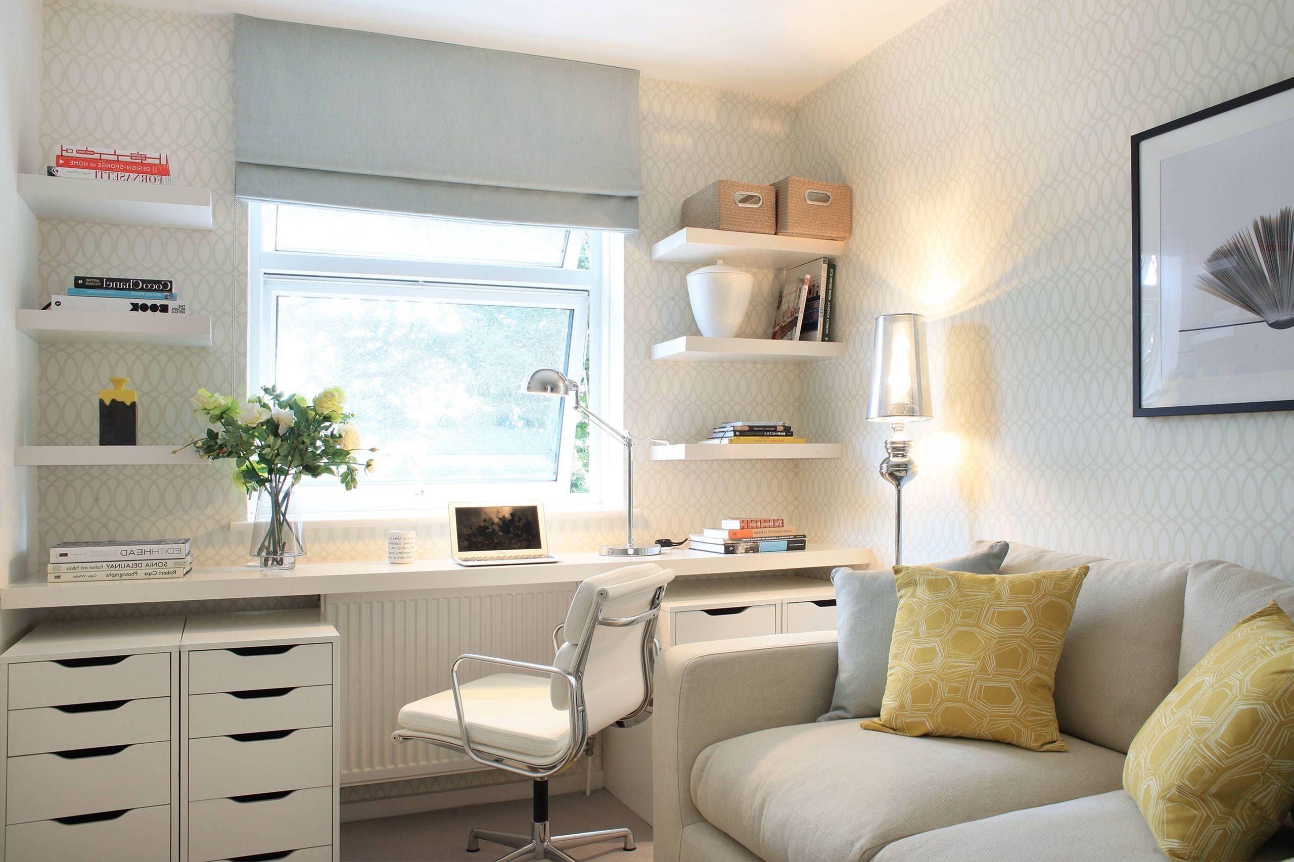 30 Beautiful Home Office Design Ideas For Small Spaces In 2020 Home Office Design Small Bedroom Office Guest Room Office