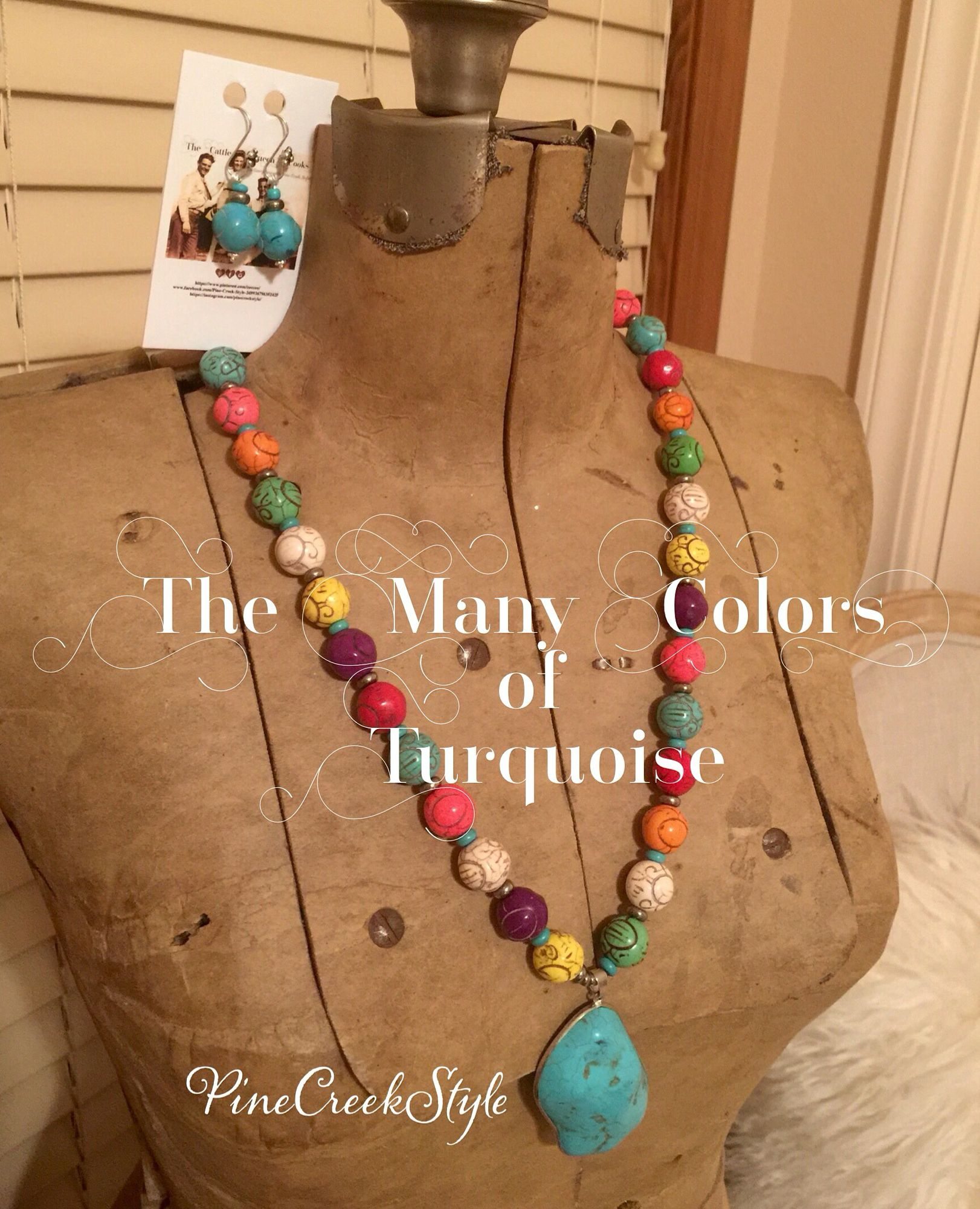 The Many Colors of Turquoise Necklace set....Turquoise & Silver beads complete this set...posts on PineCreekStyle's Facebook Page