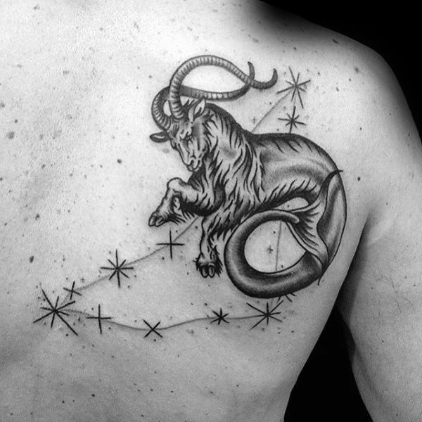 Constellation Zodiac Mens Capricorn Goat With Stars Back Tattoo - Best capricorn tattoo designs meanings men women