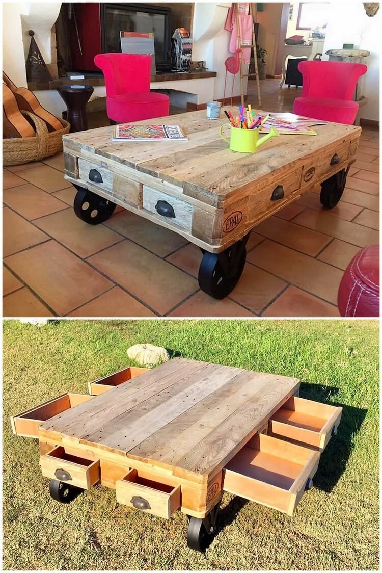 A Moderate Size Of Unique Wood Pallet Table Piece Is Presented Right Into This Image Which You Would Wood Pallet Tables Pallet Table Coffee Table With Drawers