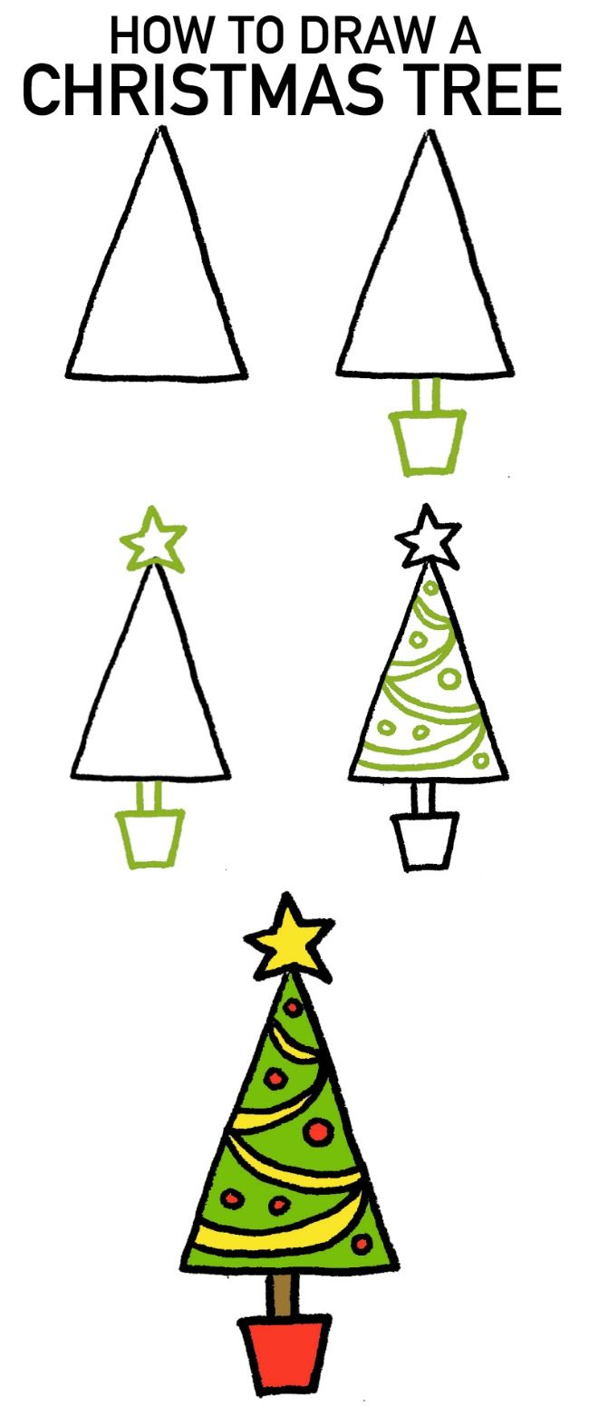 Easy To Draw Christmas Tree.How To Draw A Christmas Tree 4 Cartoon Tutorials Art