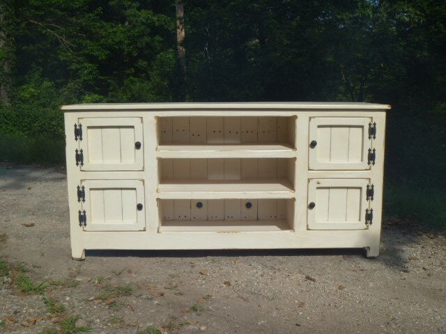 High Quality White Painted Distressed Rustic Pallet TV Stand Cabinet , Sideboard,  Reclaimed Wood, Shabby Chic