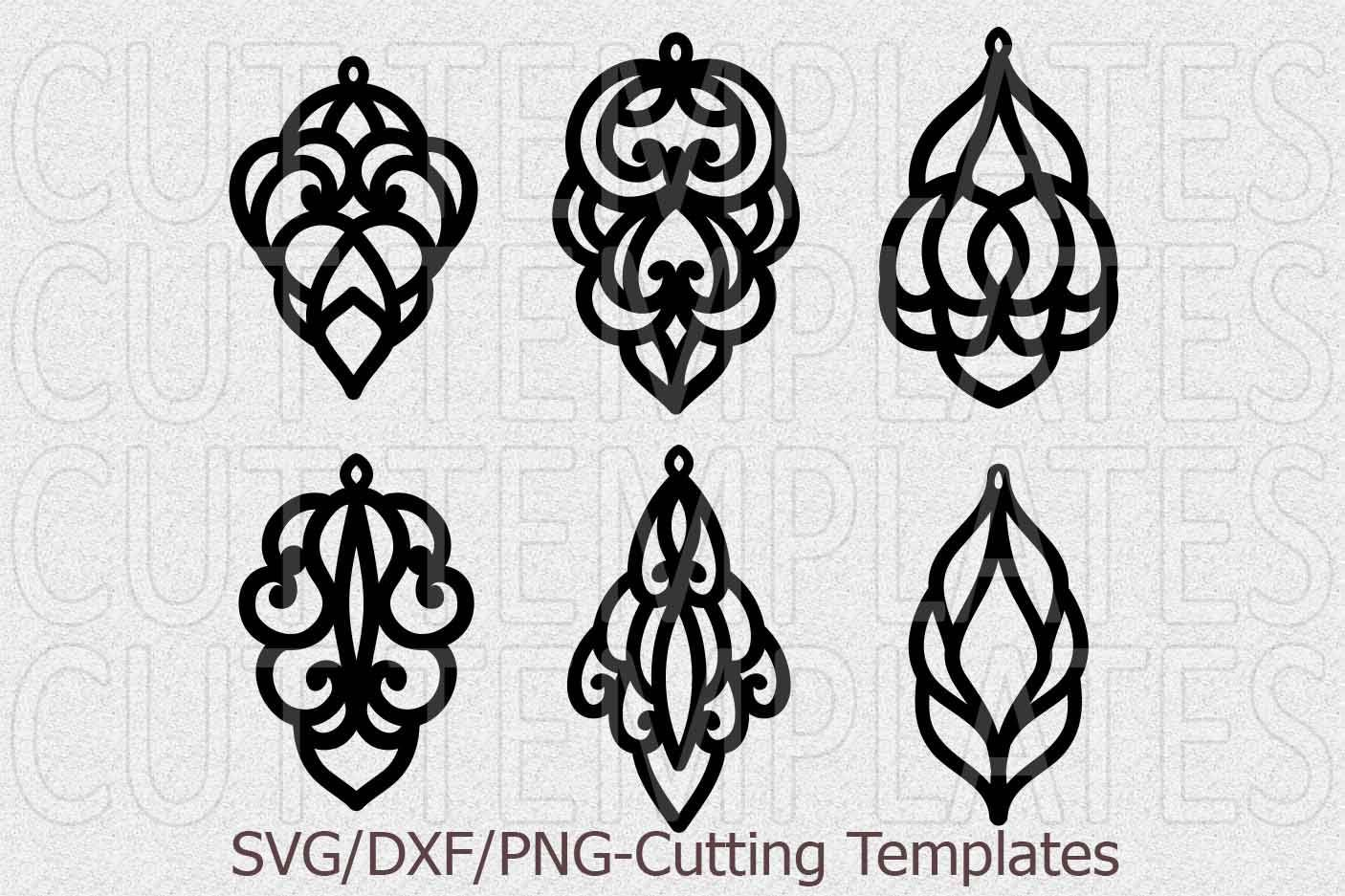 leather earring template svg, oriental jewelry svg, laser cut ...