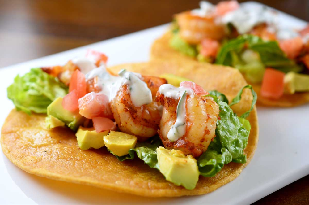 Shrimp Tacos with Cilantro-Lime Sour Cream Recipe #shrimptacorecipes