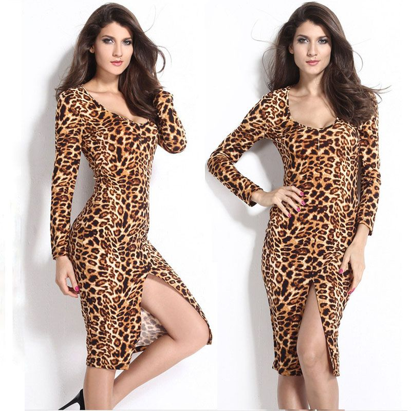 Look at this woman, so sexy she is! If you like, this hot sexy women #LeopardDress is recommended for you! It is of v-neck and front split design, which can surely add more charming feeling to you! Do you like it?