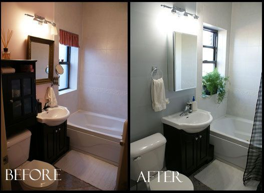 Bathroom Before And After before & after: striped wall bathroom facelift | striped walls