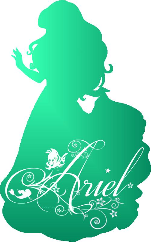 Silhueta da linda Ariel