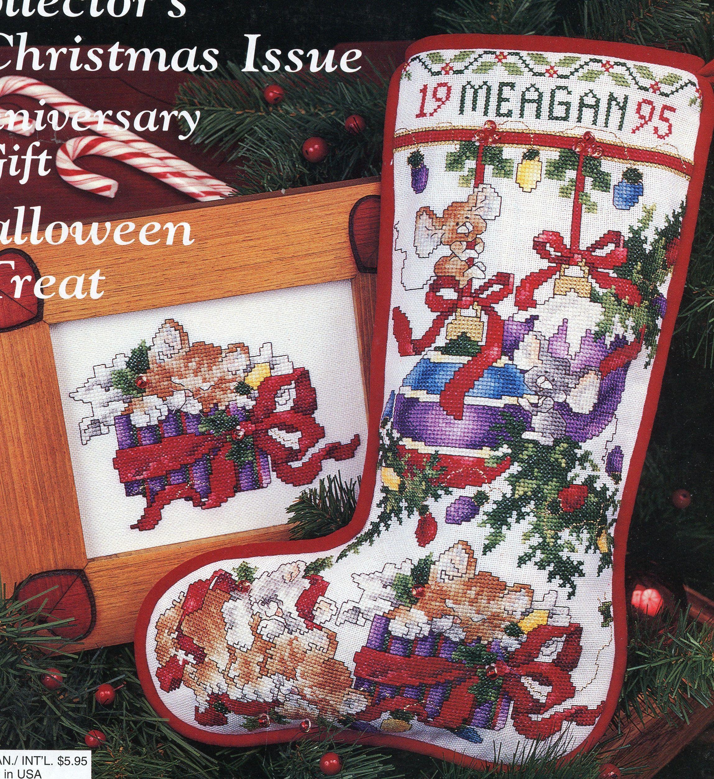 Christmas stocking cross stitch pattern kitten in
