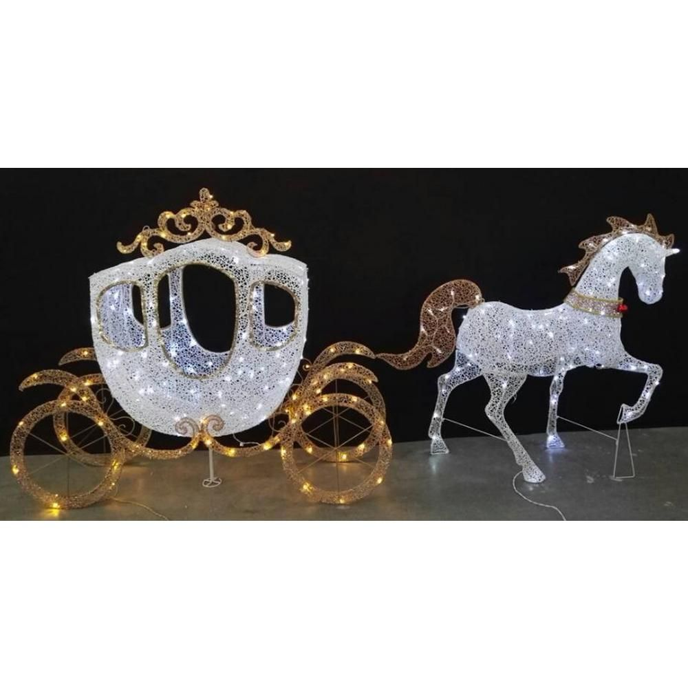 home accents holiday 58 in led warm white carriage and 43 in led warm white horse ty230 1614 1 the home depot