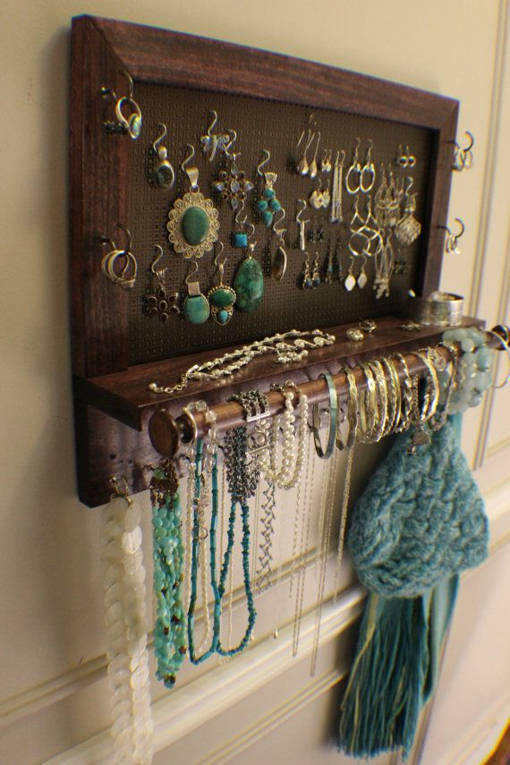 Classic Dark Cherry Stained Wall Mounted Jewelry Organizer with a