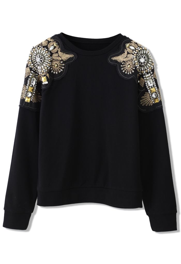 Crystal Beads Embellished Shoulder Sweat Top - Retro 43a55bf40
