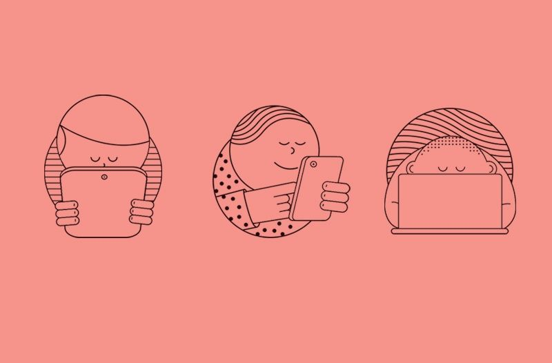 Fresh  illustration of People with multiple devices