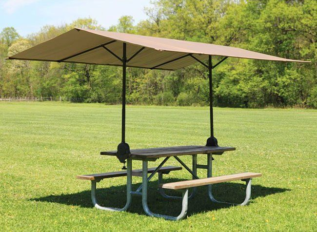 A Portable Picnic Table Canopy It Clamps To Any Rectangular Wooden Table And Offers Up To 75 Square Feet Of Shade Picnic Table Camping Table Camping Gadgets
