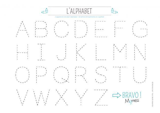Apprendre tracer les lettres de l 39 alphabet en majuscule - Lettre alphabet majuscule ...