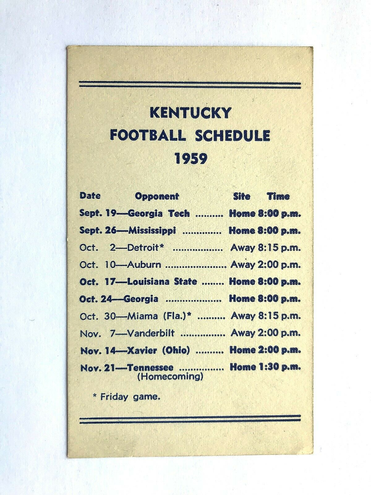 VINTAGE 1959 UNIVERSITY of KENTUCKY WILDCATS Football