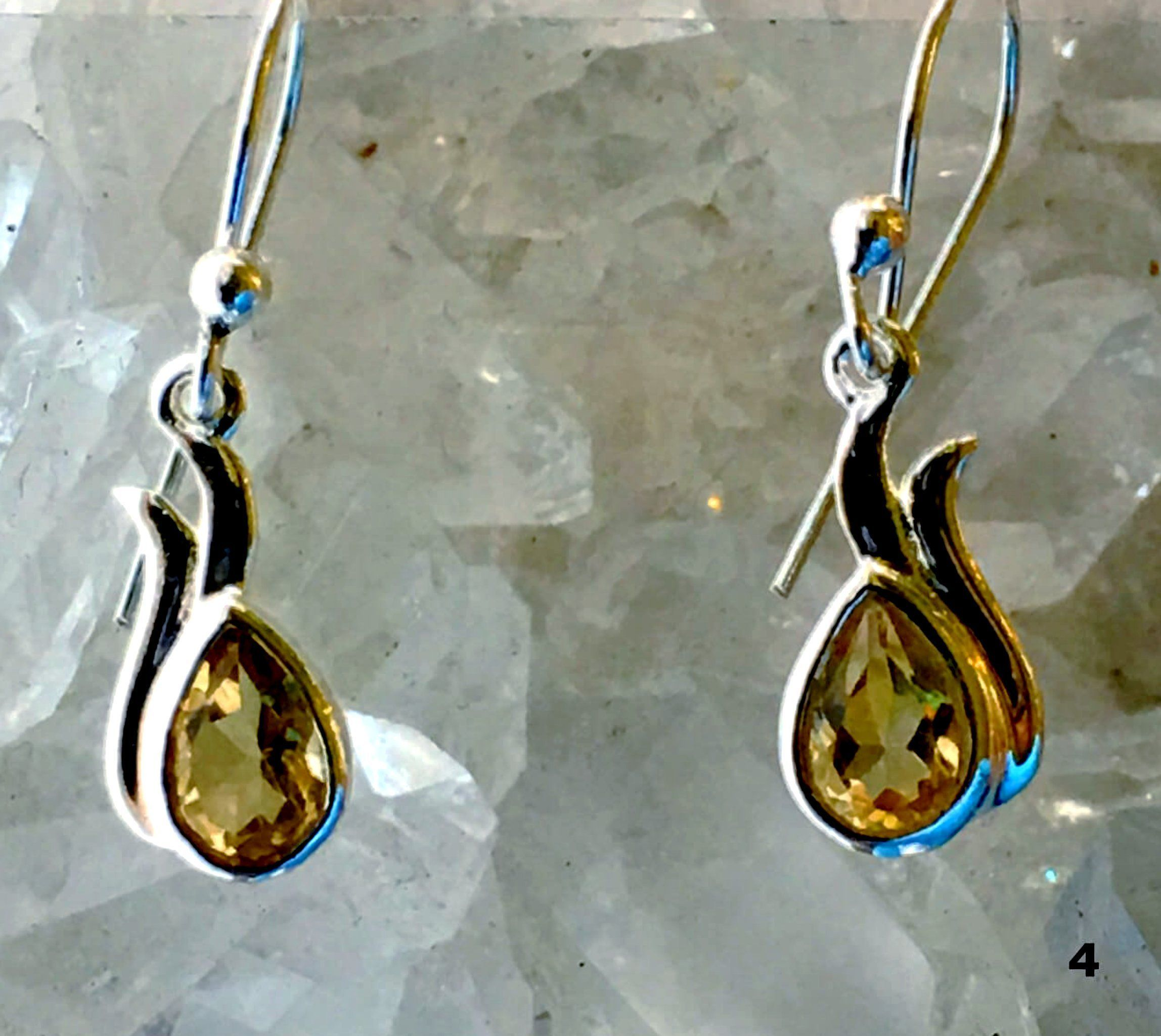 Citrine Sterling Silver Earrings Dew Drop Design | New Earth Gifts