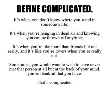 what does in complicated relationship means