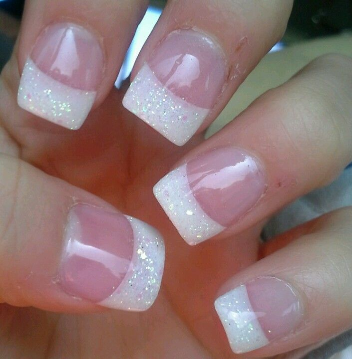 nails glitter white tip