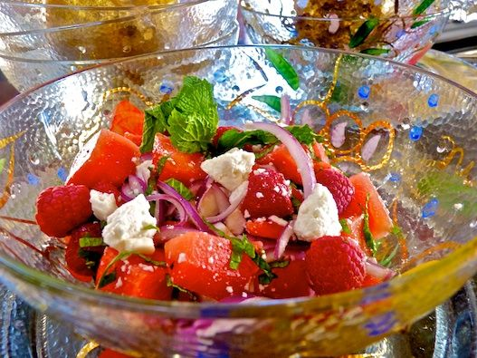 Watermelon and Feta Cheese Salad with Raspberries and Mint
