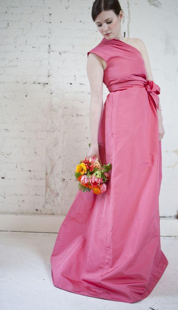 Oscar de la Renta Silk Faille Flamingo Gown | Weddings Dresses ...