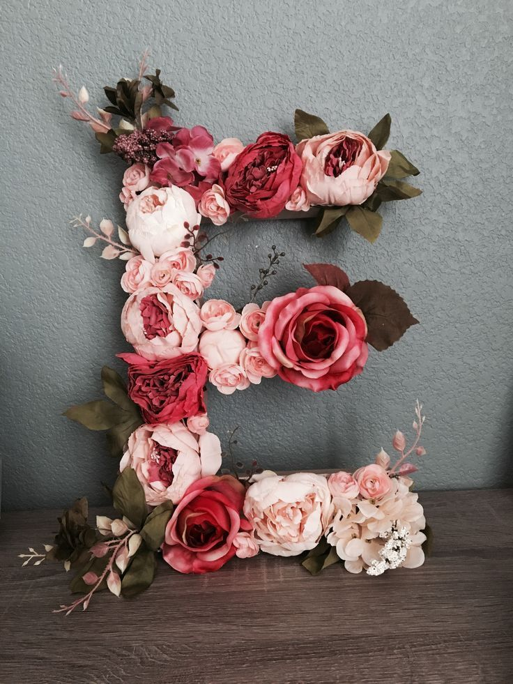 Floral letter, DIY, E, peony, rose