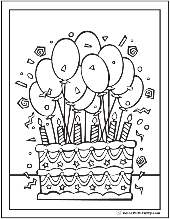 55 Birthday Coloring Pages Customizable Pdf Coloring Pinterest