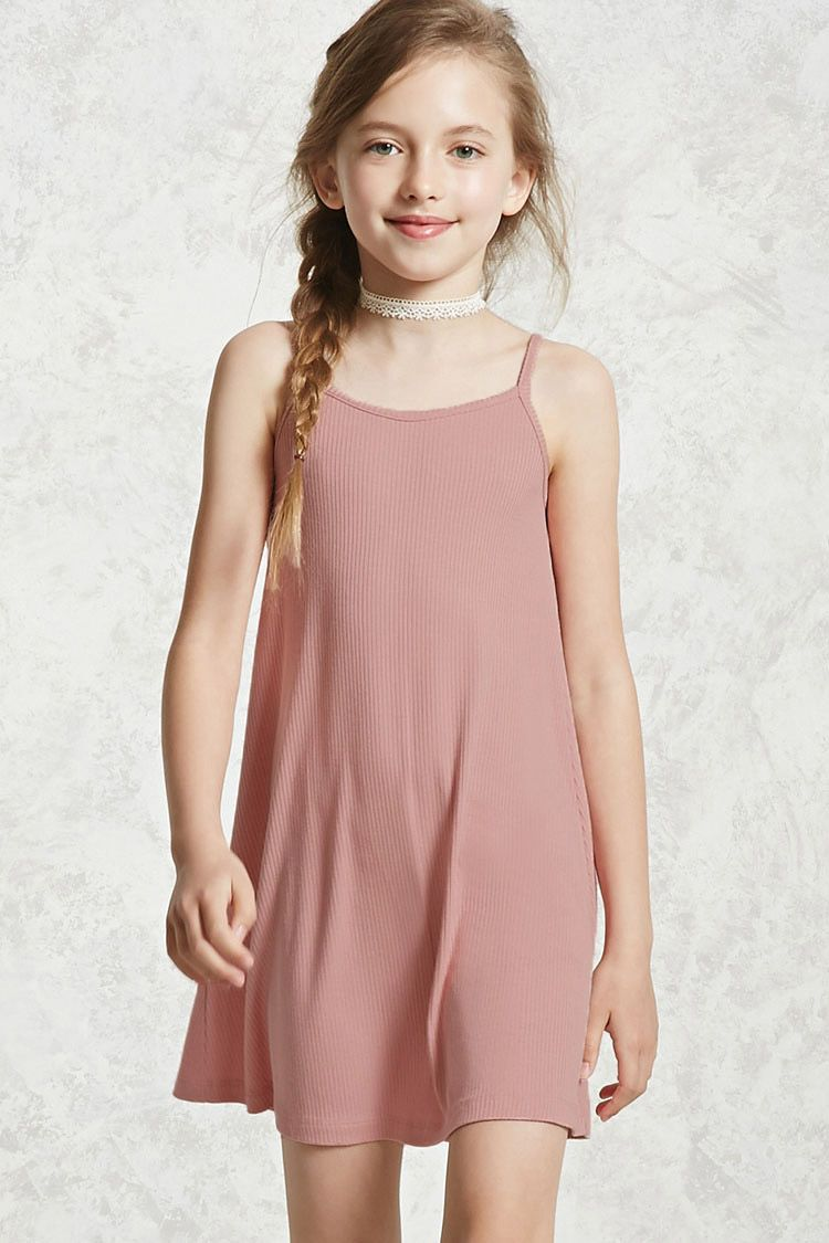 f605ed210570 Forever 21 Girls - A ribbed knit dress featuring a scoop neck, cami straps  with a crisscross back, and a shift silhouette.